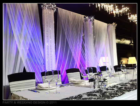 decorated Columns with white drapes between them lighting