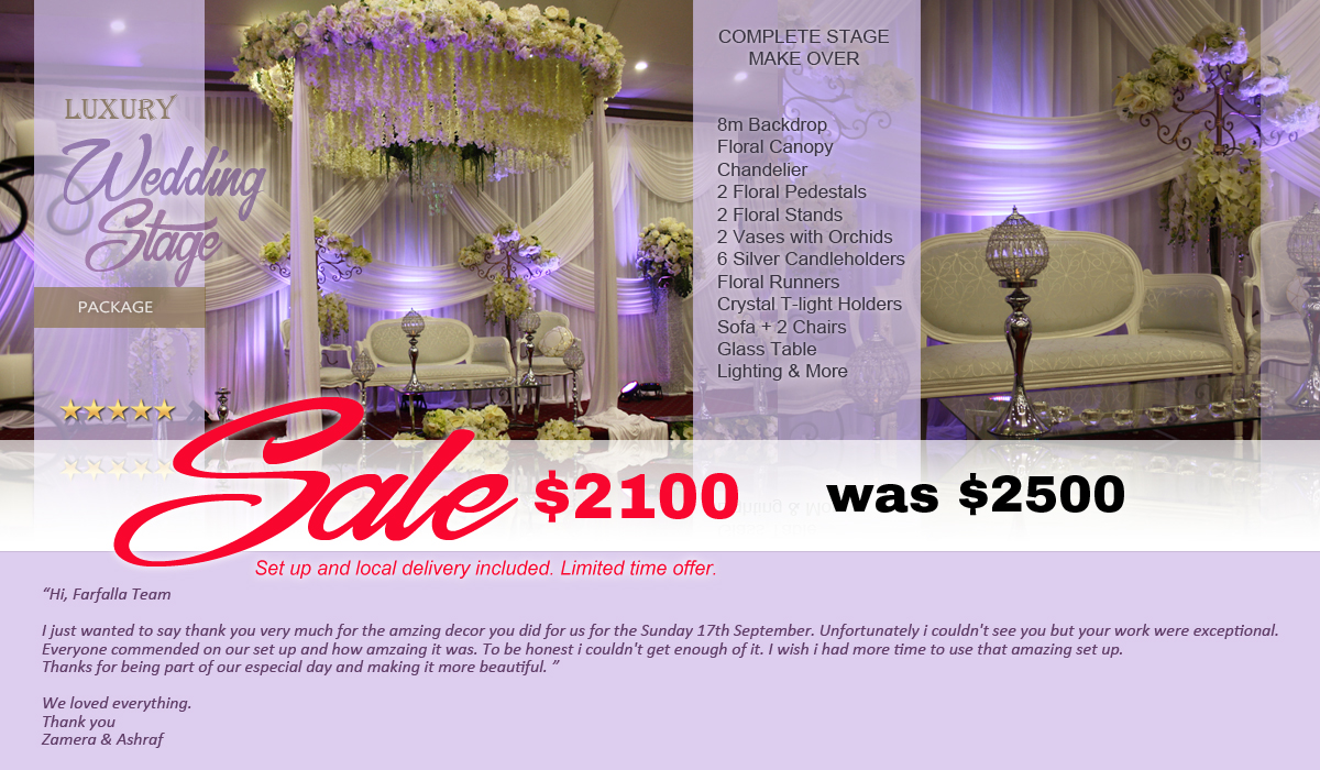 Wedding Decor Specials Melbourne